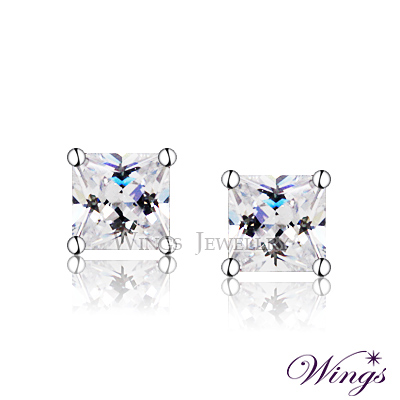 Wings 經典方鑽款 精鍍白K金 方晶鋯石美鑽耳環
