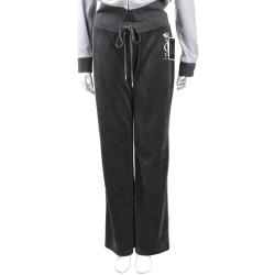 Juicy Couture 深灰色水鑽燙銀字母棉絨長褲