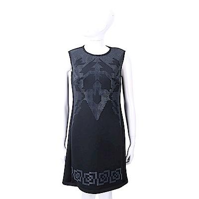 VERSACE 科技棉黑藍色貼飾圖騰無袖洋裝