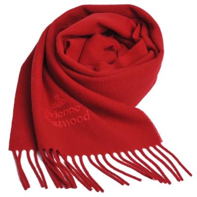 Vivienne Westwood 長版刺繡行星LOGO羊毛圍巾(紅)