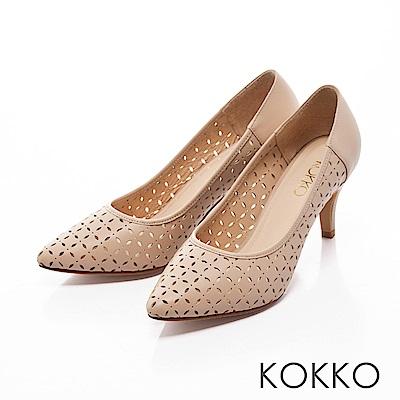 KOKKO -微光城市鏤空真皮尖頭高跟鞋-典雅杏