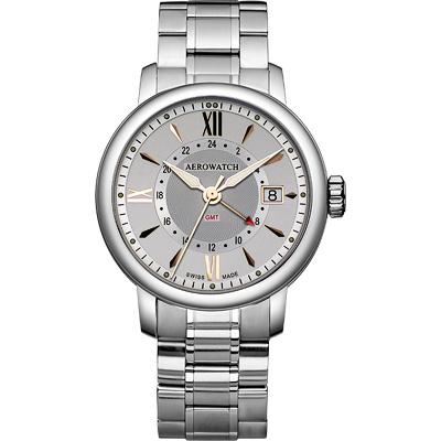 AEROWATCH Renaissance GMT 二地時區腕錶-銀/鋼鍊帶/40mm