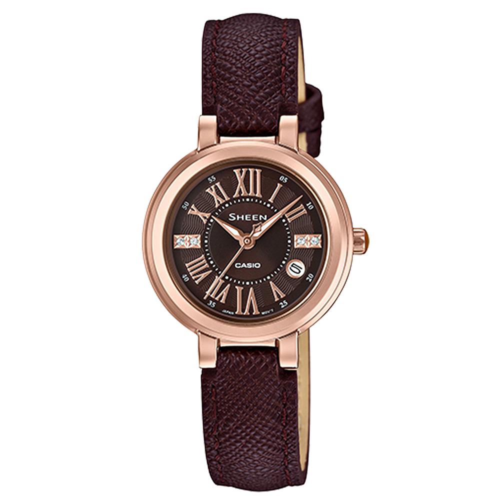 SHEEN羅馬數字沉穩棕色系皮帶腕錶(SHE-4029PGL-5)深咖啡面/28mm