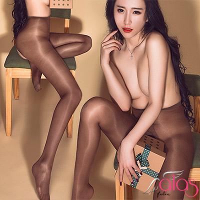 褲襪 T字開襠美色透膚油亮絲襪 (咖啡色) alas