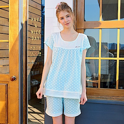 睡衣 俏皮點點 短袖兩件式睡衣(R77018-5淺水藍) 蕾妮塔塔