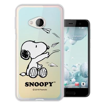 史努比 正版授權 HTC U Play 5.2吋 漸層彩繪軟式手機殼(紙飛機)