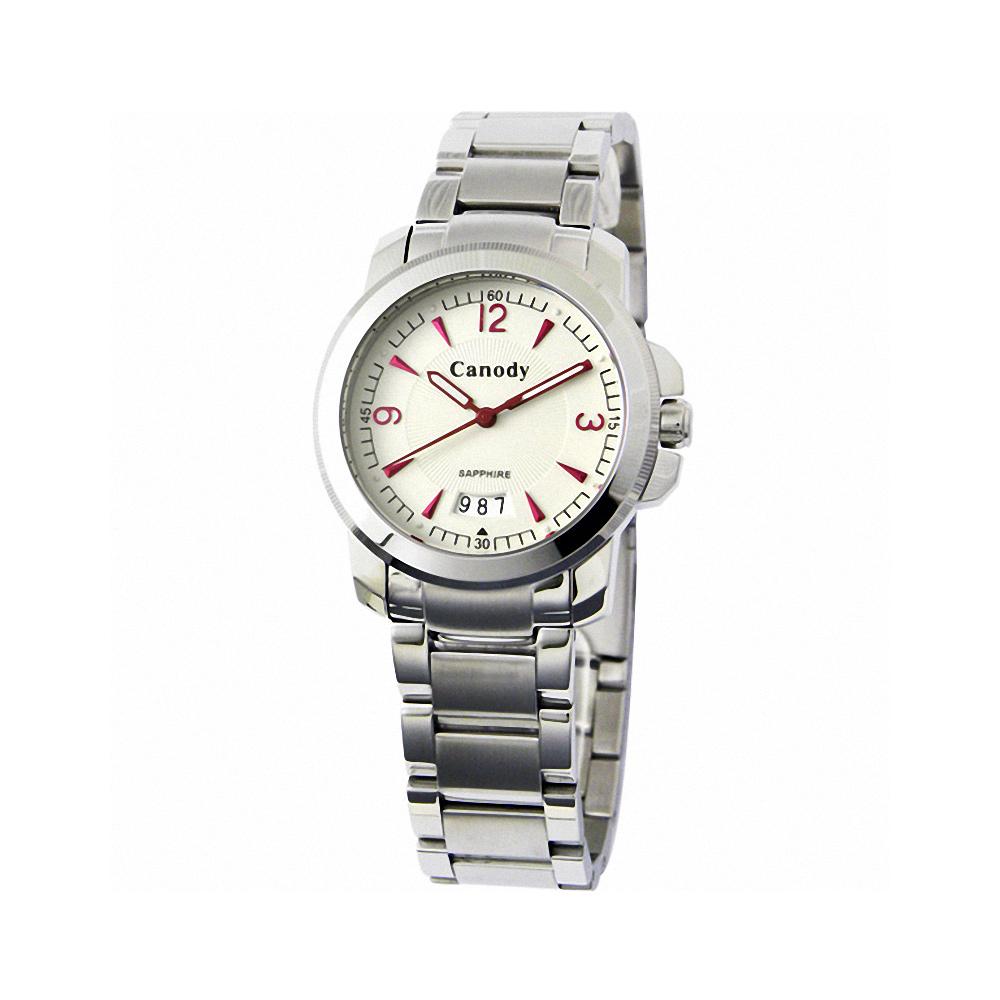 Canody 流轉時光藍寶石鏡面腕錶-白x紅針/大-36mm
