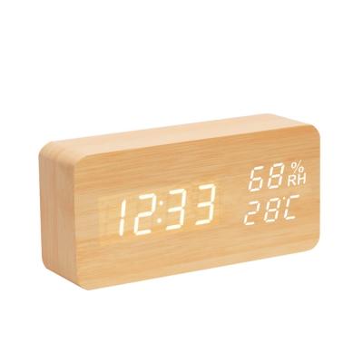 多功能LED木紋時鐘/鬧鐘 溫度/濕度/萬年曆