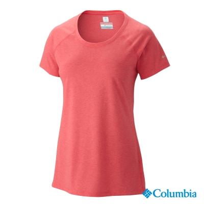 【Columbia哥倫比亞】女-酷涼快排短袖上衣-紅色 UAK54270RD