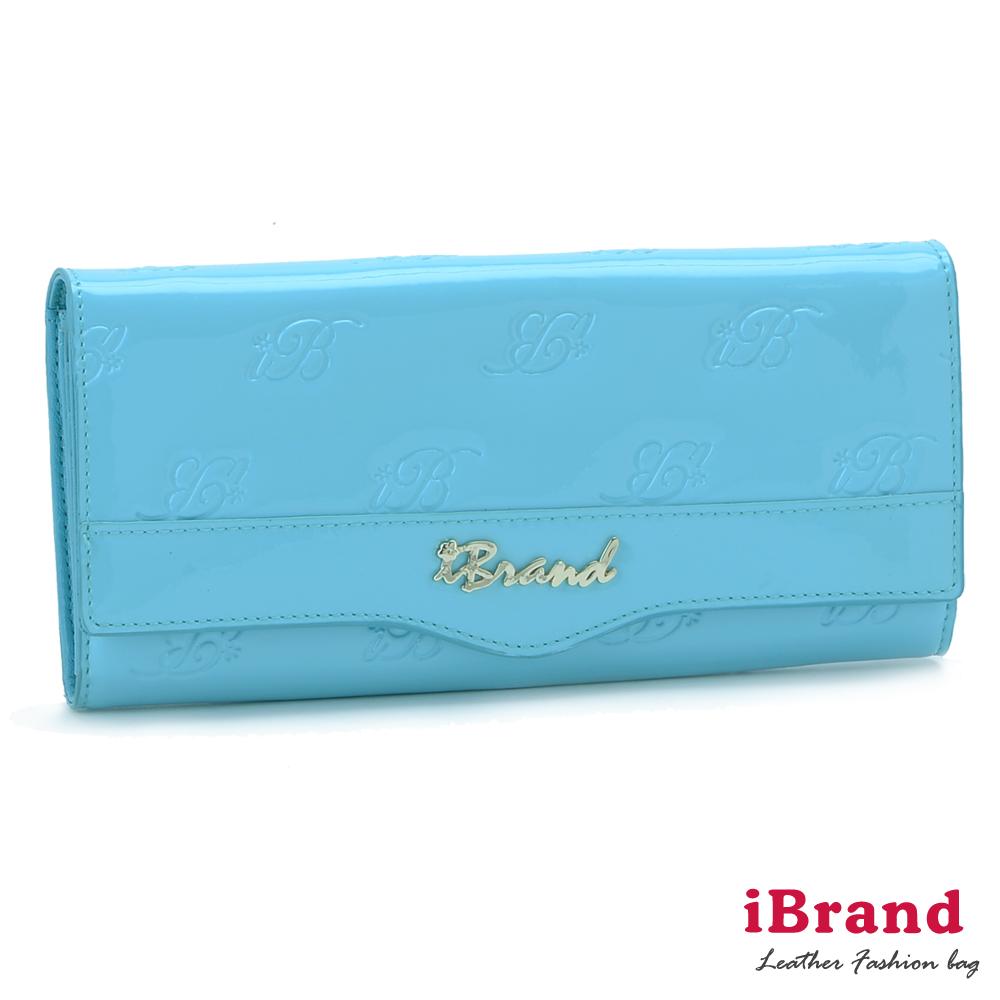 iBrand真皮 漾彩翻蓋牛皮亮面logo皮夾 天空藍