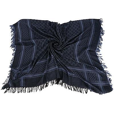 GUCCI GG針織格紋流蘇羊毛圍巾(黑藍色/展示品)
