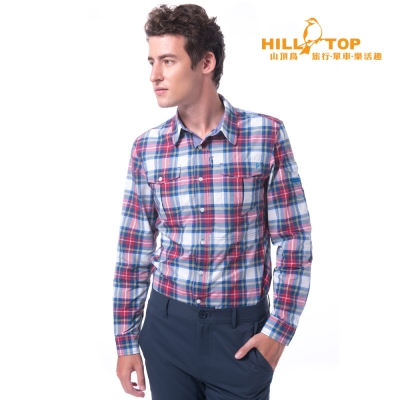 【hilltop山頂鳥】男款吸濕排汗抗UV長袖襯衫S05M59深藍紅格
