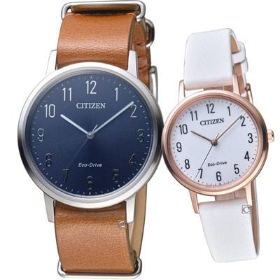 CITIZEN  經典品味時尚對錶(BJ6501-10L+EM0579-14A)