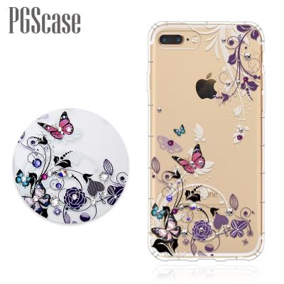 PGS iPhone8/7 Plus 5.5吋奧地利彩鑽防摔手機殼-蝶舞