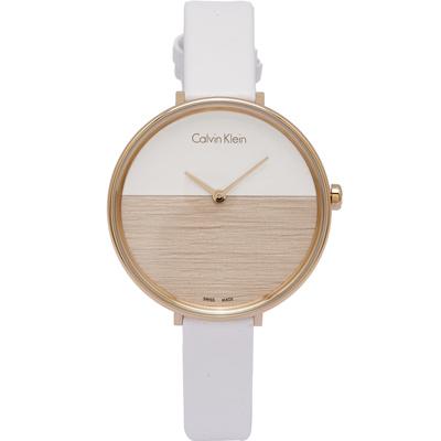 CK Calvin Klein清新木質感女性手錶(K7A236LH)-白與粉膚面/38mm