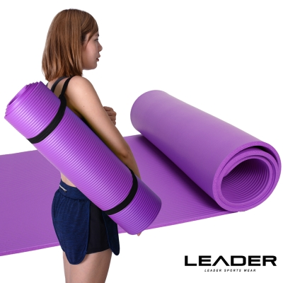 Leader X 環保NBR高密度加厚防滑瑜珈墊10mm附收納帶 紫色 - 急