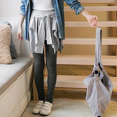 情侶系列~假兩件不規則直紋裙拼接內搭褲-OB嚴選