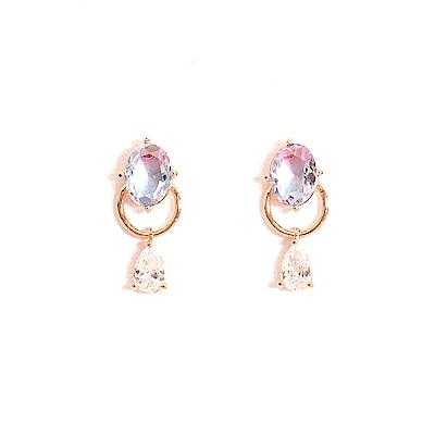 微醺禮物 正韓 鍍K金針 夢幻寶石 淡紫 粉紅 淡藍 橢圓 漸層 璀璨魔法寶石 耳針 耳環