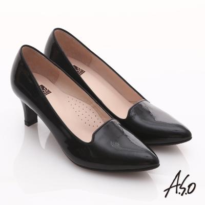 A.S.O 輕透美型 全真皮素面尖楦高跟鞋 黑