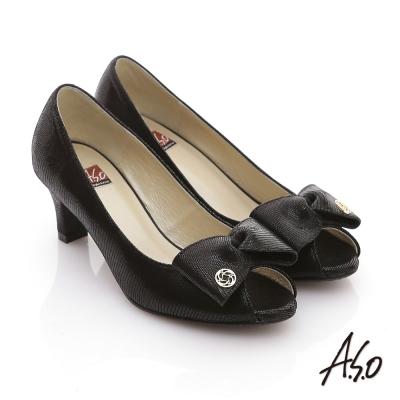 A.S.O 經典時刻 絨面真皮立體結飾魚口跟鞋 黑