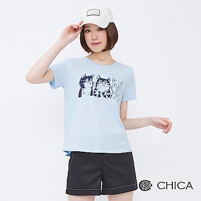 CHICA 逗趣貓咪圖騰設計純色上衣(3色)