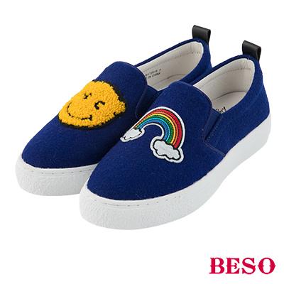 BESO彩虹笑臉 不對稱電繡俏皮休閒鞋~藍