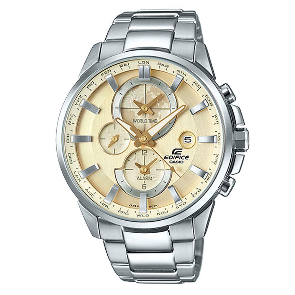 EDIFICE 世界地圖新風範日曆指針腕錶(ETD-310D-9A)香檳金面/45.3mm