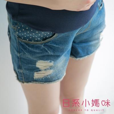 日系小媽咪孕婦裝-孕婦褲~可愛點點牛仔短褲 M-XXL