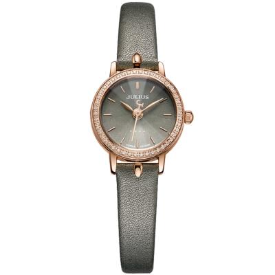 JULIUS聚利時 璀璨華爾滋鑽飾真皮腕錶-墨綠/23mm