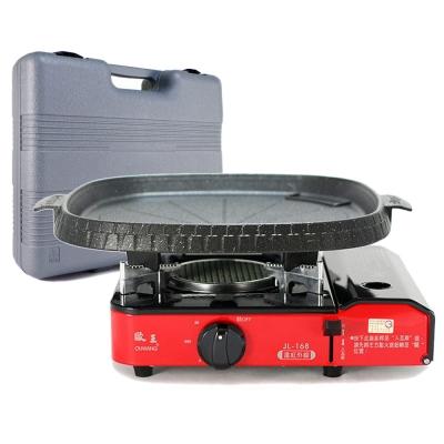 歐王OUWANG-卡式休閒爐JL-168(附PE外盒) + 韓國火烤兩用花形烤盤NU-B