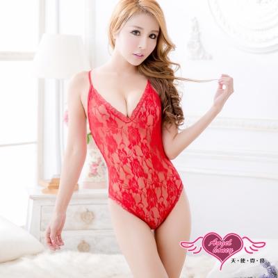 天使霓裳 竊心誘惑 性感蕾絲加大尺碼連身睡衣(紅L,XL)