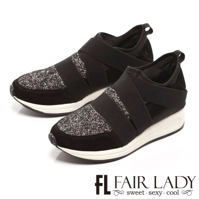 Fair Lady 交叉寬帶拼接厚底休閒鞋 灰