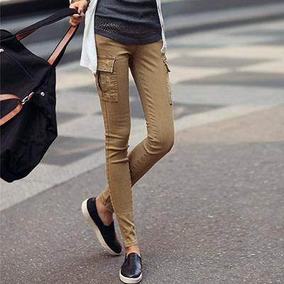 側邊立體口袋修身長褲 (共三色)-N.C21