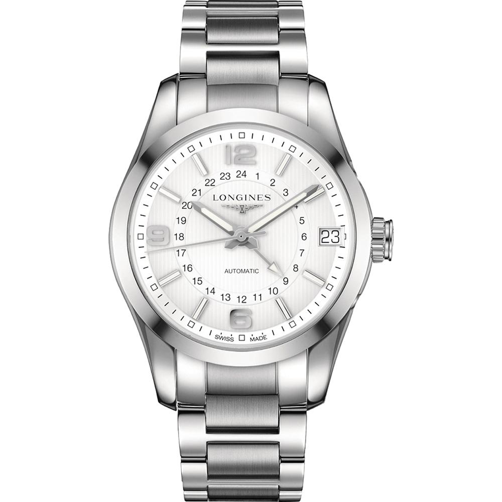 LONGINES 征服者經典系列兩地時間腕錶-銀/42mm
