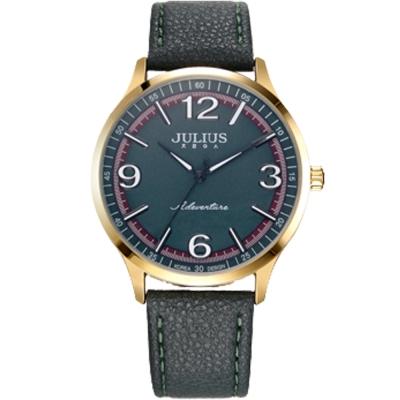 JULIUS聚利時 無限旅程立體數字皮錶帶腕錶-墨綠/40mm