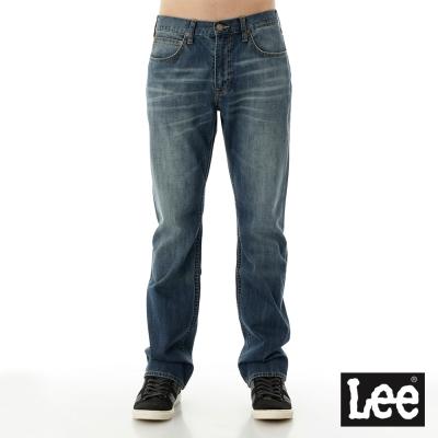 Lee 牛仔褲 743 中腰舒適擦白直筒-男款 中淺藍