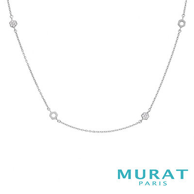 MURAT Paris米哈巴黎 鏤空滿鑽六角型長版項鍊