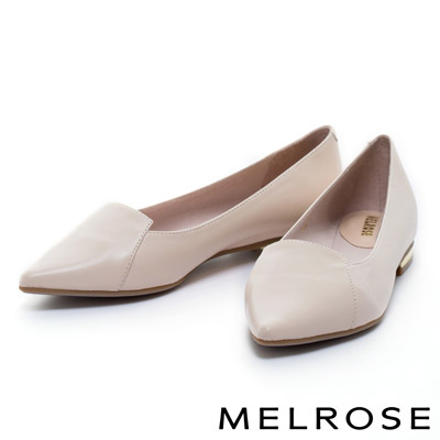 MELROSE-簡約時尚胎牛皮尖頭電鍍跟鞋-粉