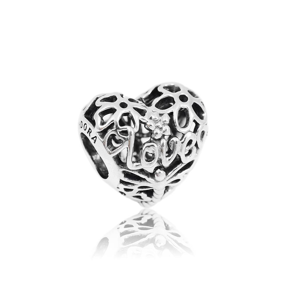 Pandora 潘朵拉 Love蜻蜓花園鏤空愛心 純銀墜飾 串珠