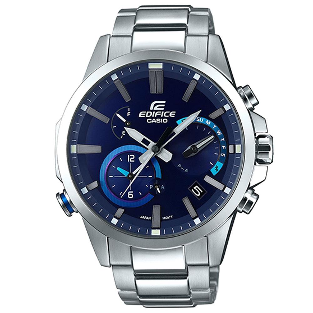EDIFICE 頂級鑄模技術藍牙傳輸賽車錶(EQB-700D-2A)精湛藍48.2mm