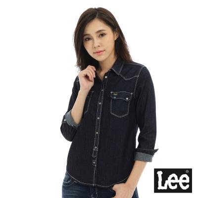 Lee 牛仔長袖襯衫/101+-女款-深藍色