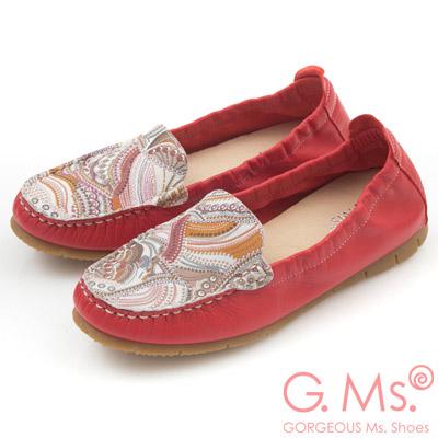 G.Ms.MIT系列-變形蟲印花牛皮莫卡辛鞋-亮麗紅