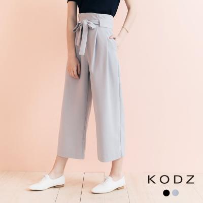 東京著衣-KODZ 質感百搭附綁帶打褶寬管褲-S.M.L(共二色)