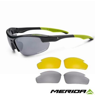 《MERIDA 》美利達護目鏡 0849 -經典黑+灰片+黃片