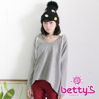 betty's貝蒂思 慵懶外刷毛連帽上衣(灰色)