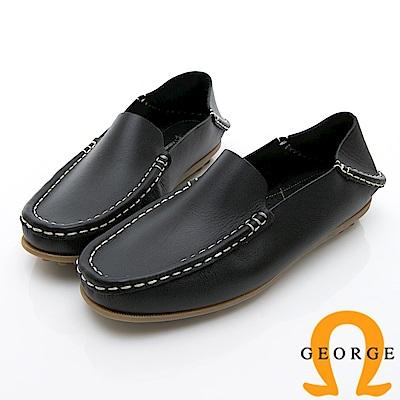 GEORGE 喬治-水洗系列 素面縫線懶人樂福鞋休閒鞋 女鞋-黑
