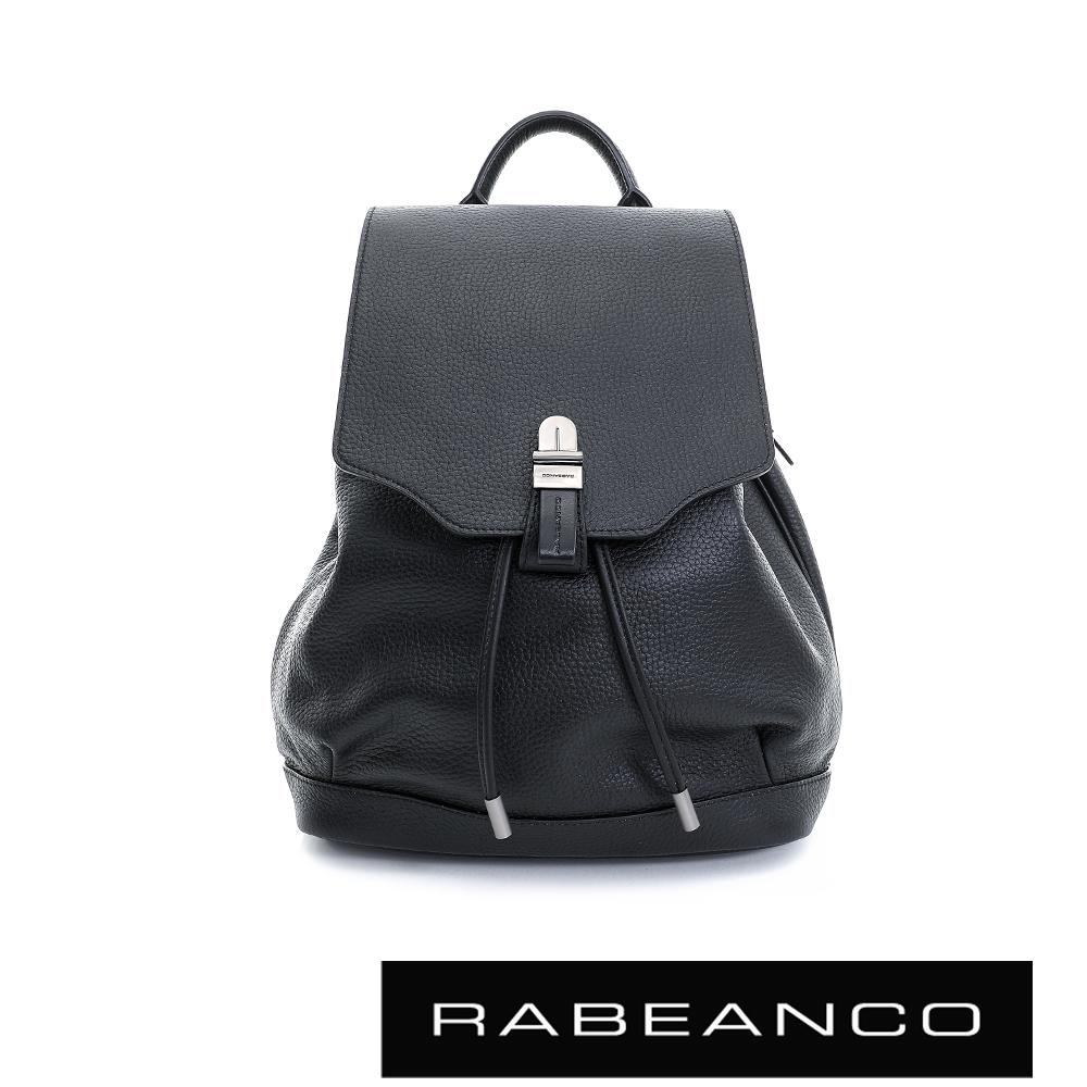 RABEANCO經典壓扣設計束口後背包-鋼琴黑