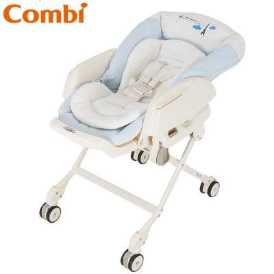 【Combi 康貝】 Letto ST款 電動安撫餐椅搖床-藍色巴黎