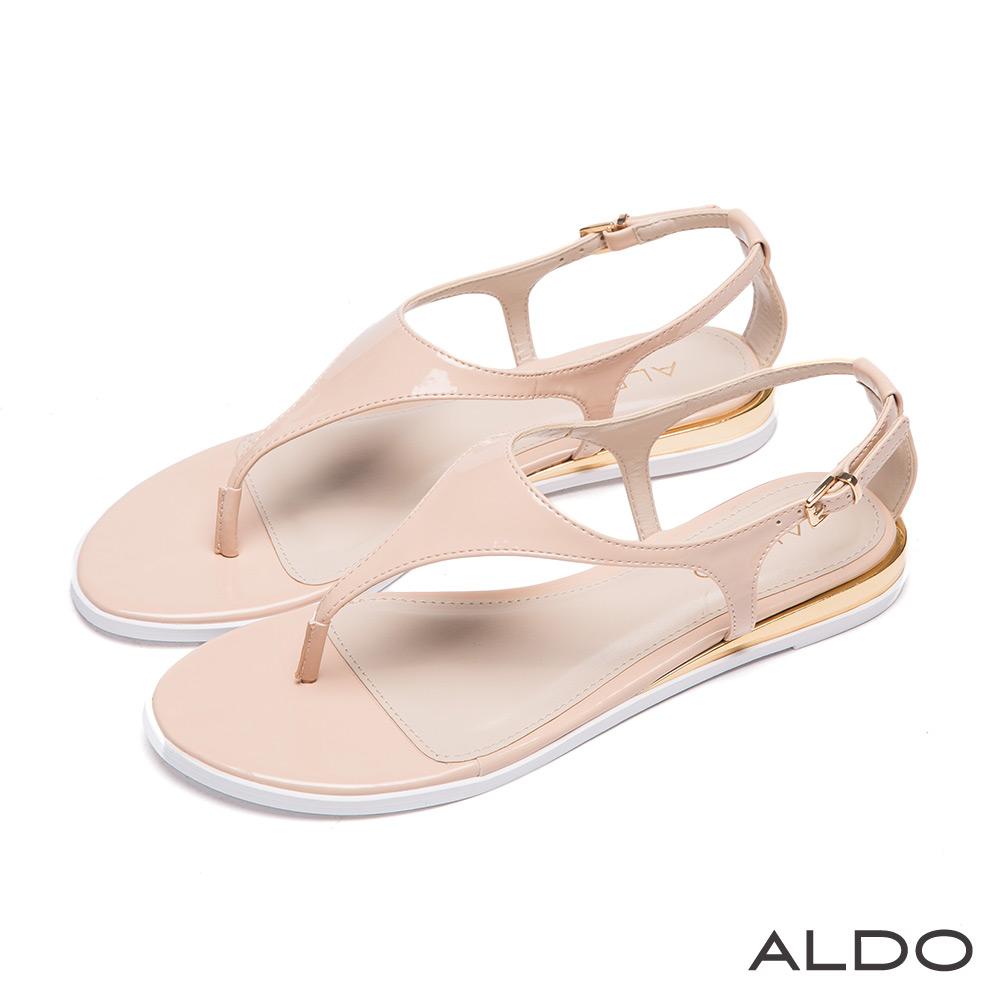 ALDO 春回大地T字漆皮金屬釦帶夾心涼鞋~優雅裸色