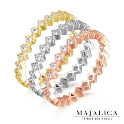 Majalica純銀戒指 菱形造型線戒尾戒鑲鑽單只戒-共3色